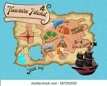 Treasure Island Pirate Map for Quest Vector illustration