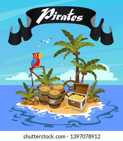 Treasure Island, the island of pirates with a parrot