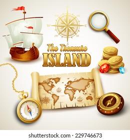 Treasure Island. Vector icons set