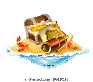 Treasure island, vector illustration isolated on white background
