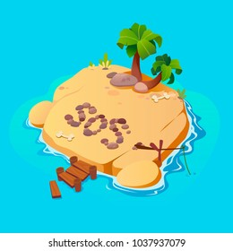 Treasure map for game. Treasure map with islands. Vector background for game interface.