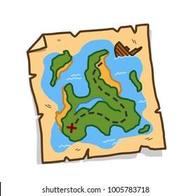 Treasure Map, a hand drawn vector cartoon illustration of a treasure map.
