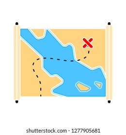 treasure map icon- treasure map isolated,money pirate illustration - Vector treasure journey