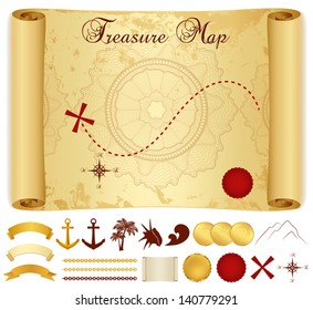 Treasure Map on old / vintage / antique paper (scroll or parchment) with cross, red mark, compass, anchor, banner ribbon, palm tree. Treasure hunt (Searching). Medieval Cartography. Vector template