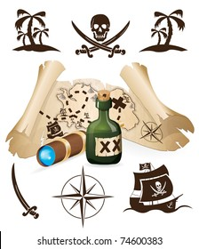 Treasure map, pirate collection