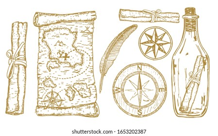 Treasure Map Sketch. Adventure items: compass, treasure map in a bottle. Travel and adventures hand drawn vector set