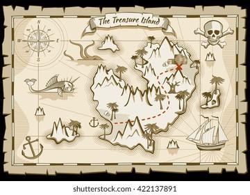 Treasure pirate hand drawn vector map.