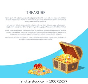 Treasure poster and text sample and lettering, box with golden coins and royal crown, cup decorated with precious stones, pearls vector illustration