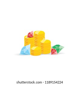 Treasure stacks of coins diamons and rubins vector illustration for games winer prize wealth first place.