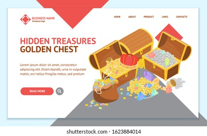 Treasure with Wooden Chest Landing Web Page Template 3d Isometric View Include of Golden Coin and Gem. Vector illustration