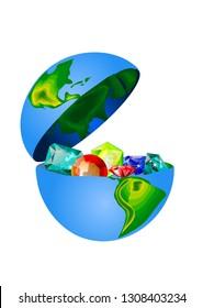 treasures of earth. precious stones in the open globe