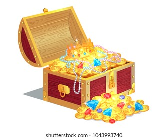 Treasures in wooden box, poster with chest and coins, necklace and crown, gemstones and treasures, vector illustration isolated on white background
