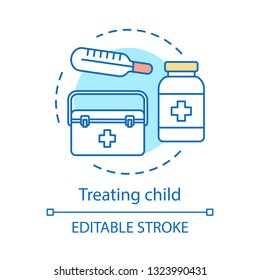 Treating child concept icon. Healthcare idea thin line illustration. High temperature. Flu, cold. Ambulance. Medication. Pills bottle, thermometer. Vector isolated outline drawing. Editable stroke