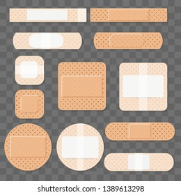 Treatment aids medical plaster. Dressing plasters, wound cross plastering band and porous bandage plasterers vector illustration