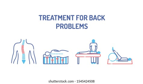 Treatment for back problems line color icons set. Rehabilitation center. Scoliosis, memory foam mattress, massage procedure, physiotherapy. Vector isolated concept. Editable stroke.