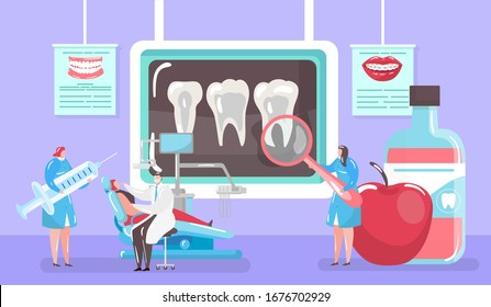 Treatment of caries concept, x-ray tooth and medical cure by dentist and patinet in dental chair mini people cartoon vector illustration. Caries and hygiene, dentistry medicine, stomatological clinic.
