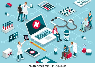 Treatment, clinic assistance on medicine services. Patient concept and clinic diagnosis. Patient assistance with healthcare technology. Infographics, banner. Flat images, vector illustration.