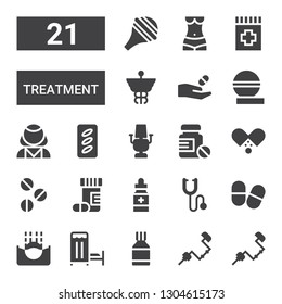 treatment icon set. Collection of 21 filled treatment icons included Brace, Pills, Medical room, Submerge, Phonendoscope, Medicine, Drugs, Dentist chair, Psychologist, Caduceus