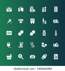 treatment icon set. Collection of 25 filled treatment icons included Medicine, Bandage, Pharmacist, Disease, Ambulance, Pills, Phonendoscope, Drugs, Iv, Nasal spray, Pill, Vaccine