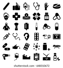 Treatment icons set. set of 36 treatment filled icons such as hair dryer, ear, shaving brush, shave hair in skin, spa stone, spa mask, stethoscope, syringe, drop counter, pill