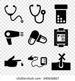 Treatment icons set. set of 9 treatment filled icons such as hair dryer, no hair in skin, stethoscope, pill, injured finger, blood pressure measure, blood pressure