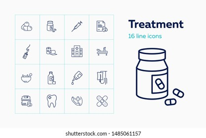 Treatment line icon set. Drop, hospital, pills. Medicine concept. Can be used for topics like medication, prescription, disease, cure