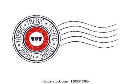 Trebic city grunge postal rubber stamp and flag on white background