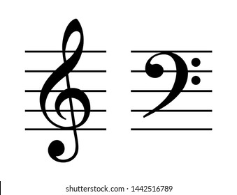 Treble and bass clef on five-line staff. G-clef placed on the second line and F-clef on fourth line of the stave. Two musical symbols, used to indicate the pitch of written notes. Illustration. Vector