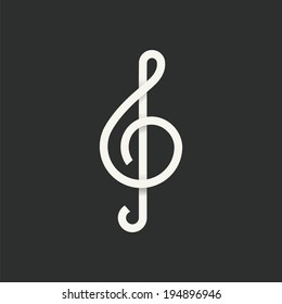 Treble Clef Abstract Vector Symbol Icon or Logo Template