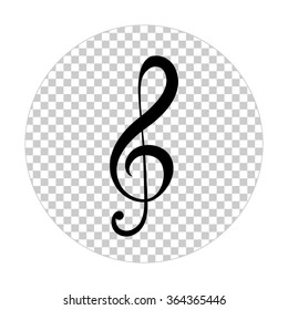 treble clef  - black vector icon