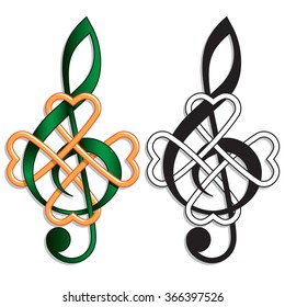 Treble Clef Celtic Knot Irish Music. Musical motif for an Irish or St Patrickâ??s Day theme