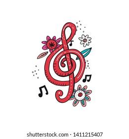 Treble clef doodle vector illustration