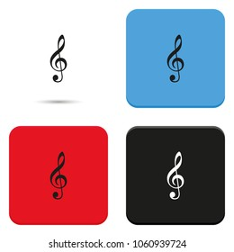 Treble clef flat vector icon.