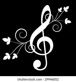 Treble clef with floral emenets