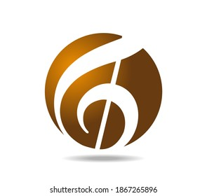 Treble clef in a golden background. Joy and music