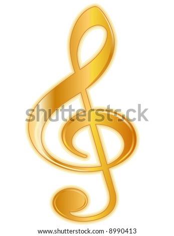 Treble Clef Golden Treble Clef Music Stock Vector Royalty Free