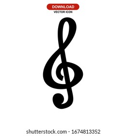 treble clef icon or logo isolated sign symbol vector illustration - high quality black style vector icons