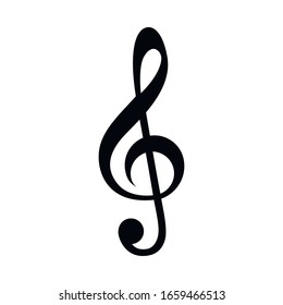 Treble clef icon music note isolated on white background. Vector illustration