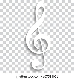 Treble clef icon. White treble clef icon.