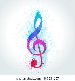 watercolor treble clef