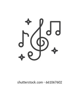 Treble clef and music notes line icon, outline vector sign, linear style pictogram isolated on white. Music symbol, logo illustration. Editable stroke. Pixel perfect