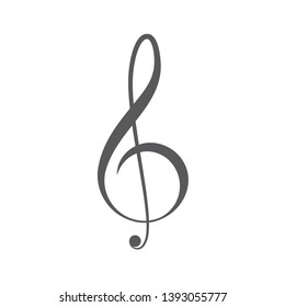 Treble clef and music notes vector icon concept, isolated on white background