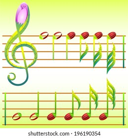 Treble clef and note made of stylized flowers and leaves.