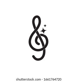 treble clef note musical melody sound music vector illustration silhouette style icon
