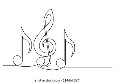 A treble clef and notes are drawn by a single black line on a white background. Continuous line drawing. Vector illustration.