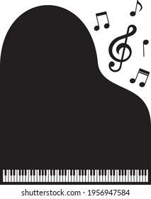 Treble clef, notes, grand piano, keyboard, music