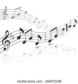 treble clef and notes on a stave with reflection