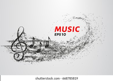 Treble clef and notes of the particle. Music logo made of small circles