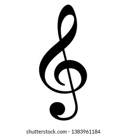 Treble clef on white background. Vector illustration