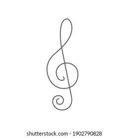 Treble clef on white background.Musical notes.Continuous line drawing.Vector illustration.